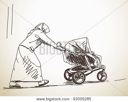 Sketch of woman with baby carriage, Hand drawn illustration