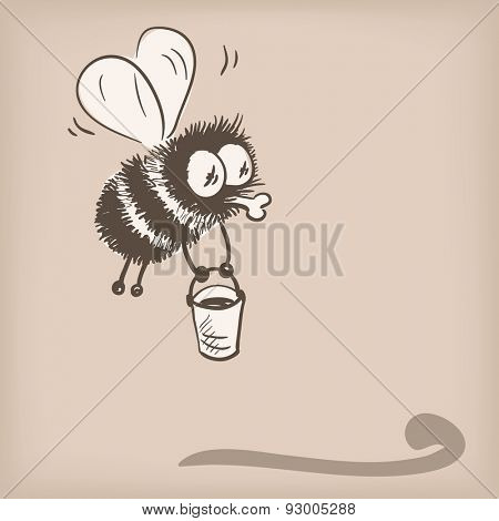 Bee flying with bucket doodle, Vector illustration