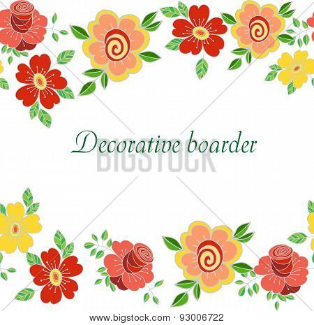 Decorative seamless floral boarder with cute flowers