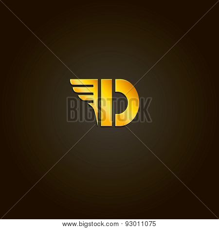 Letter D. Vector gold font. Template for company logo. Design element or icon.