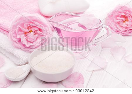 sea salt and essential oils, pink tea rose flower. spa