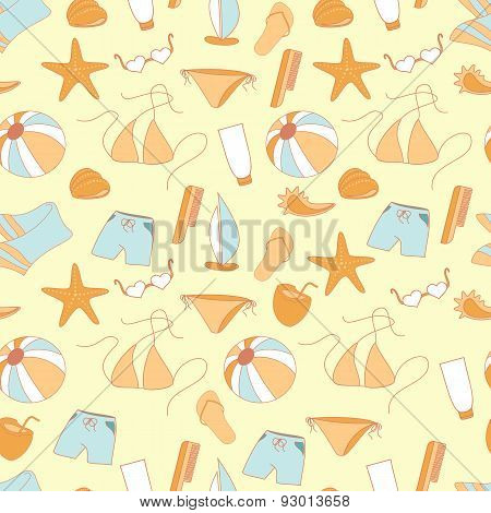 Seamless Pattern Summer Collection Of Swimwear, Shorts, Ball, Sh