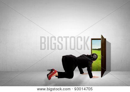 Business Woman Take A Peek Through Small Door