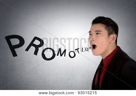 Asian Business Man Shout Promotion