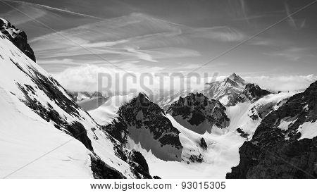 Titlis Snow Mountains Black And White