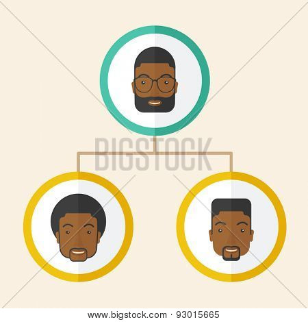 A group of african gather to have a business meeting and brainstorming. Business group concept. A Contemporary style with pastel palette, soft beige tinted background. Vector flat design illustration