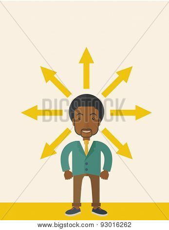 A black businessman being confused with too many directions, presenting with arrows, to make decision. A Contemporary style with pastel palette, soft beige tinted background. Vector flat design