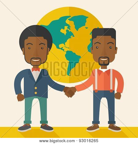 A two black guy happily handshaking with their International or global world corporation business. Partnership concept. A Contemporary style with pastel palette, soft beige tinted background. Vector