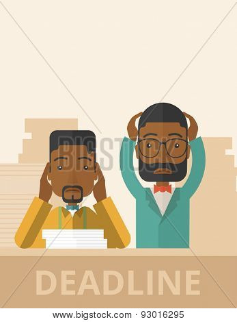 A two african-american empoloyees is burnout  having a problem meeting the deadline, so many paper works to attend to. A Contemporary style with pastel palette, soft beige tinted background. Vector