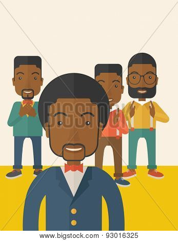 A handsome black businessmen happy standing showing for their successful in life. . A Contemporary style with pastel palette, soft beige tinted background. Vector flat design illustration. Vertical