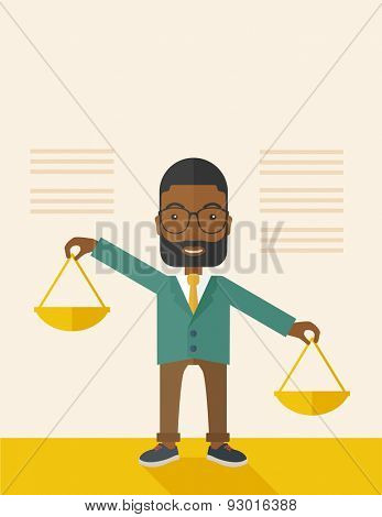A black holding a Weighing scale inclined to the other side. Balancing concept. . A Contemporary style with pastel palette, soft beige tinted background. Vector flat design illustration. vertical