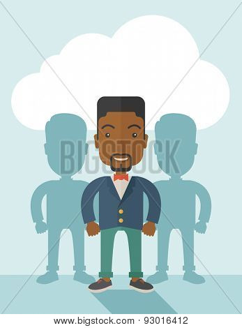 A very confident black guy standing straight showing that he has a strong teambuilding togetherness. Teamwork concept. A contemporary style with pastel palette soft blue tinted background with