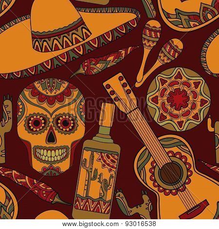 Vector seamless pattern with traditional mexican symbols