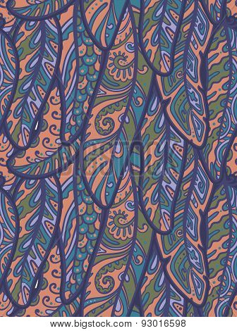 Seamless pattern of colorful ornamental bird feathers