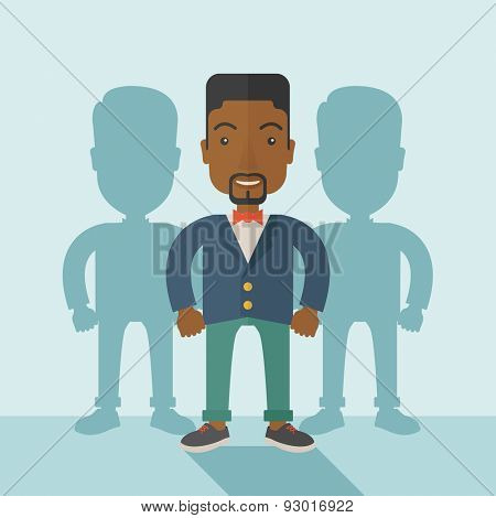 A very confident black guy standing straight showing that he has a strong teambuilding togetherness. Teamwork concept. A contemporary style with pastel palette soft blue tinted background. Vector flat
