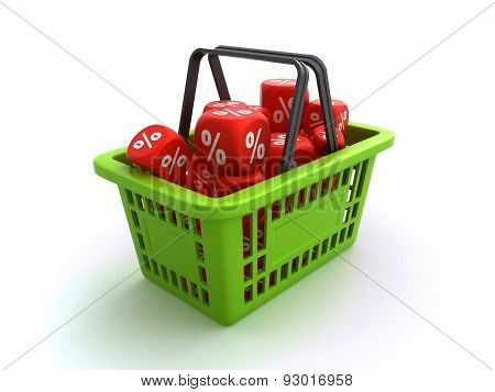 shopping basket with discount dice