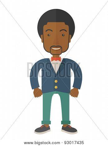A very confident black guy standing straight showing that he has a strong teambuilding togetherness. Teamwork concept. A Contemporary style. Vector flat design illustration isolated white background