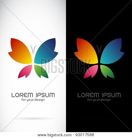 Vector Image Of An Butterfly Design On Black Background And White Background, Logo, Symbol