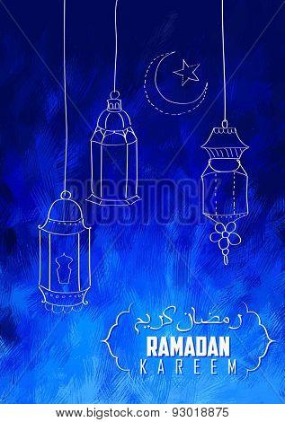 illustration of illuminated lamp on Eid Mubarak (Happy Eid) background