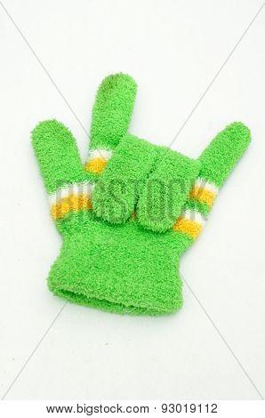 Knitted woolen gloves, winter gloves I love you symbol