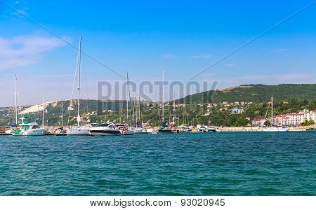 Balchik Resort Town Marina. Moored Sailing Yacht