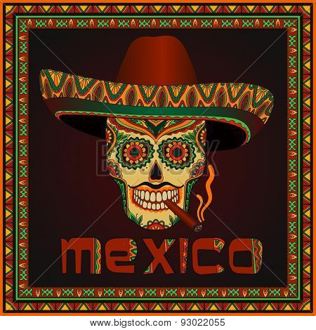 Traditional mexican scull with sombrero