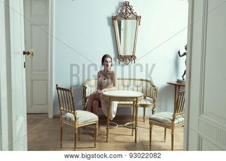Elegant Model In Luxury Room