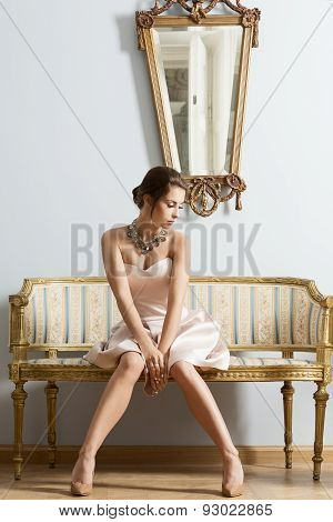 Girl In Vintage Aristocratic Interior Shot