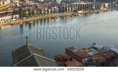 PORTO, PORTUGAL - JUNE 9, 2015: Top View of Douro river from Dom Luis I Bridge in historic center of Porto. UNESCO recognised Old Town of Porto as a World Heritage Site in 1996.