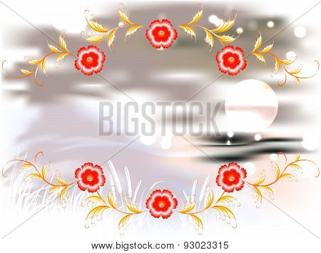 Mountains, lake and ornament on a moonlit night. EPS10 vector illustration