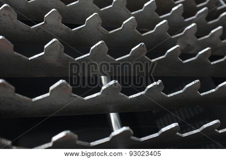 Abstract background of metal teeth pattern