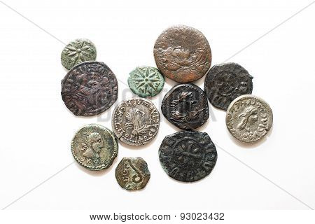 Vintage Coins With Portraits Of Kings On A White Background