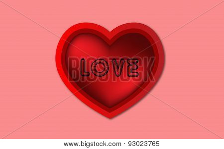 3d Red Heart and love text,Red Clipart Heart