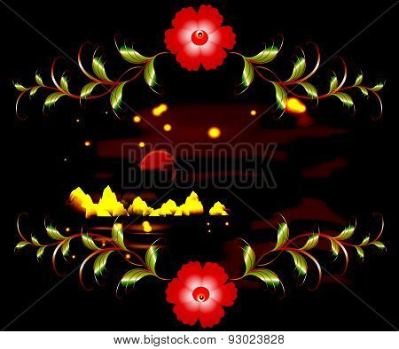 Mountains, lake and ornament on moonlit dark night. EPS10 vector illustration