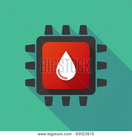 Cpu Icon With A Blood Drop