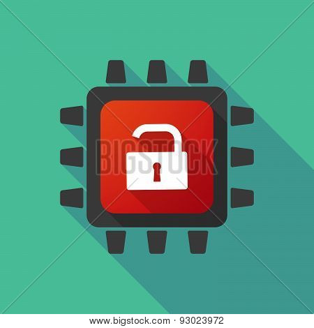Cpu Icon With A Lock Pad
