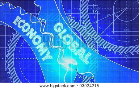 Global Economy on the Cogwheels. Blueprint Style.