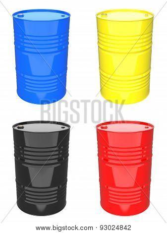 Colorful Industrial Barrel - Set of 3D Illustrations.