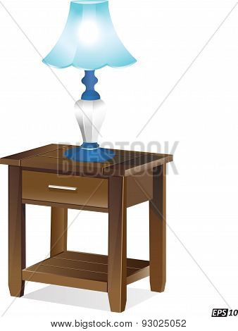 Table lamp on an wooden table