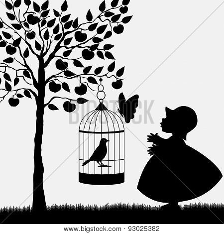 Bird Cage Hanging From Apple Tree And Cute Girl