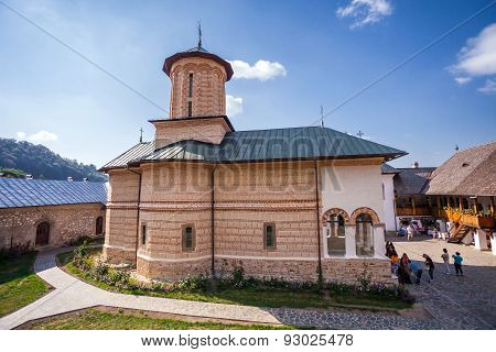 Tourists Visiting The Old Orthodox Monastery From Polovragi