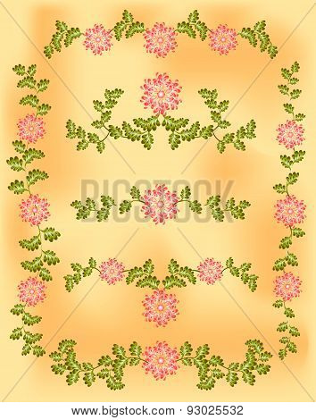 Vintage vignette of pink flowers and leaves on old paper