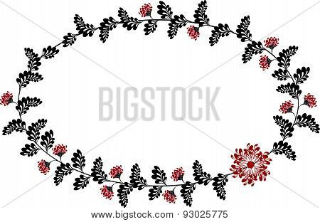 Frame with red and black flowers in the shape of an ellipse. EPS10 vector illustration