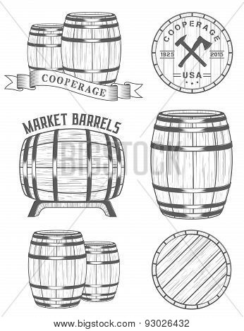 Vector Set Badges Cooperage Workshops