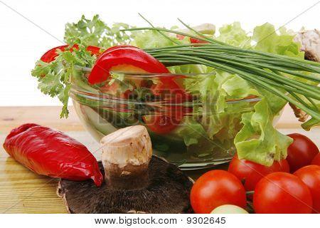 Fresh Salad On Wood
