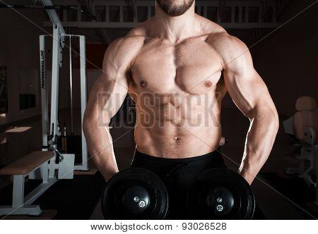 Closeup of a muscular young man