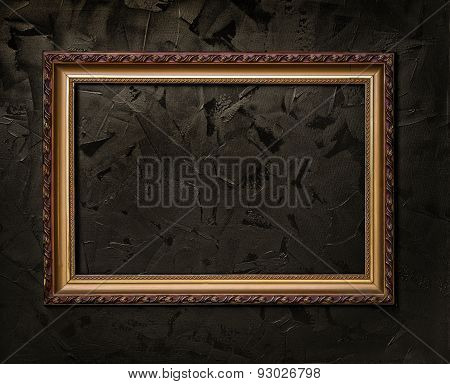 Frame On A Dark Background Of The Canvas