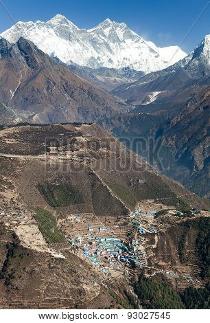 View Of Mount Everest, Lhotse And Namche Bazar