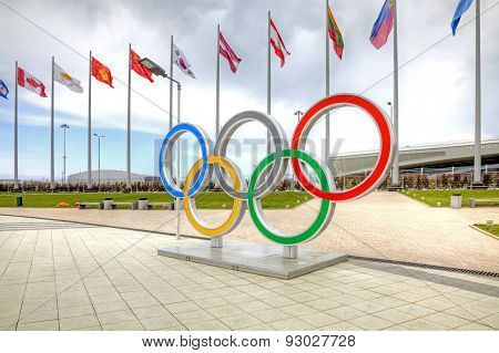 Sochi. Olympic Rings On The Olympic Area