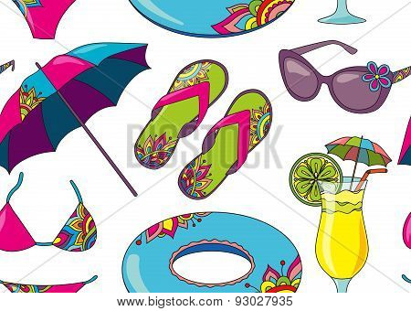 Seamless Vector Pattern With Summer Holidays Seaside Beach Objects